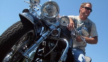 Picture of Roy Moranz on Harley Davidson Road King Motorcycle.
