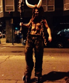Picture of Roy Moranz in Minotaur Halloween costume.