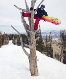 Picture of Roy Moranz Snowboarding in Park City Utah.
