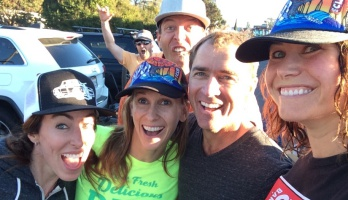 Picture of Roy Moranz mountain biking in Santa Cruz with the Cliff girls.
